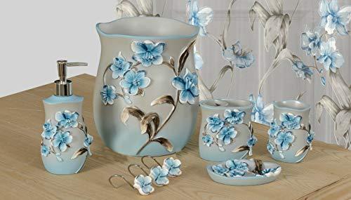 BH Home Linen 6-Piece Decorative Bathroom Accessory Set Made of Ceramic Lily Blue