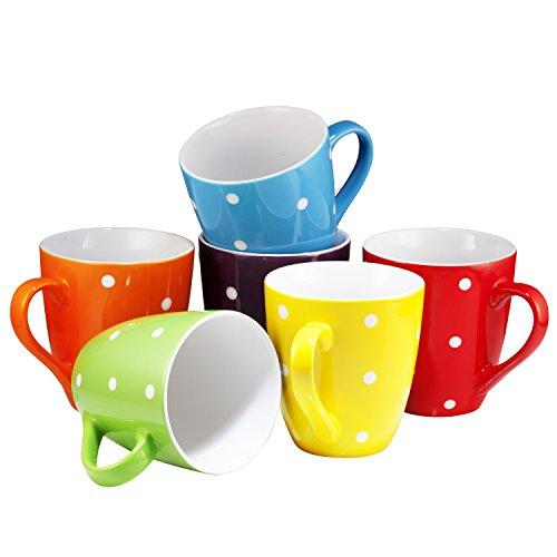 Coffee Mug Set Set of 6 Large-sized 16 Ounce Ceramic Coffee Mugs Restaurant Coffee Mugs By Bruntmor Polka Dot