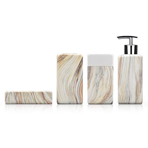 Fimary Bathroom Accessory Set Complete - Marble 4 Piece Bathroom Sets Ceramic Including Soap Dish Toothbrush Holder Tumbler Lotion Dispenser Bathroom