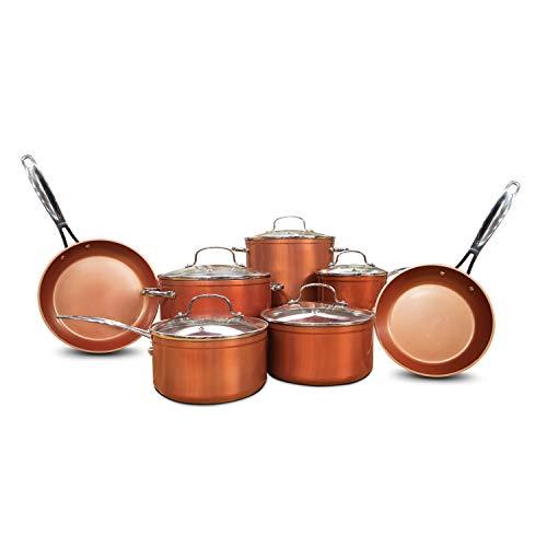Nuwave Copper 12 Piece Ceramic Duralon Forged Cookware Set with Lids