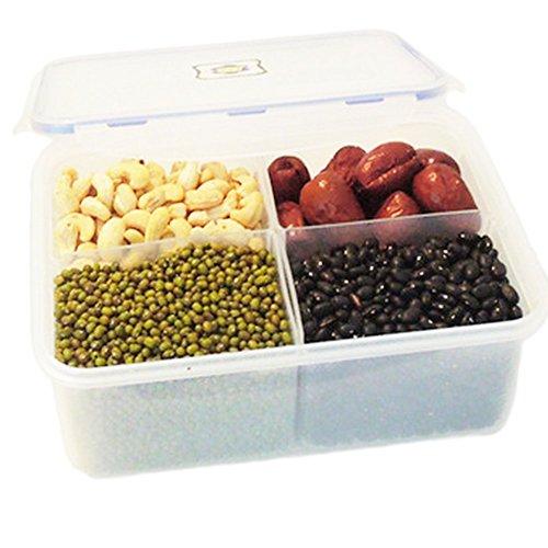 Demarkt Refrigerator Crisper 4-Grids Microwave Boxes Kitchen Storage Gadgets