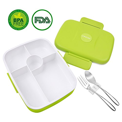 Bento Lunch Box For Kids Adults W5 Compartment Leakproof Microwave Dishwasher Safe Healthy BPA Free Fork Spoon INCLUDED