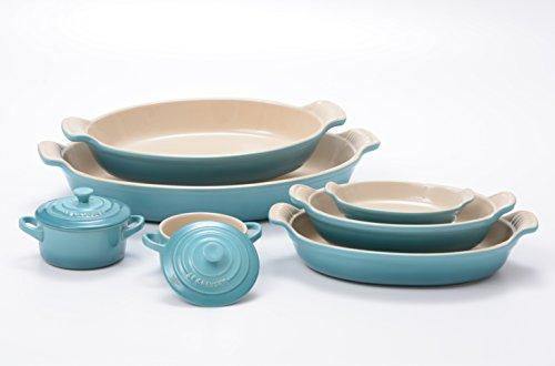 Le Creuset Heritage Caribbean Stoneware 5 Piece Au Gratin Dish Set with 2 Mini Cocottes