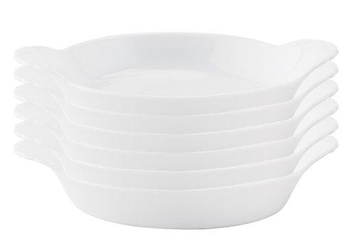 HIC Round Au Gratin Baking Dishes Porcelain 4-Ounce 5-Inch Set of 6
