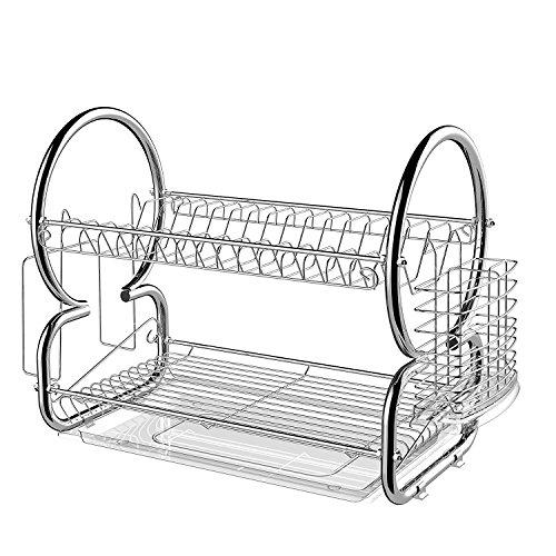 BATHWA 2 Tier Dish Rack Cup Drying Rack Drainer Dryer Tray Holder Organizer