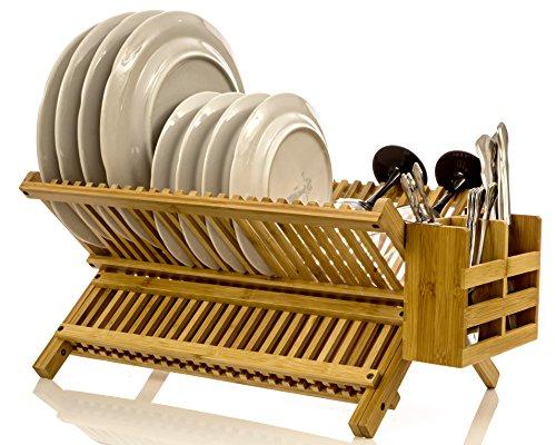 Intriom Bamboo Dish Rack With Utensil Holder Set Scissor Style Foldable