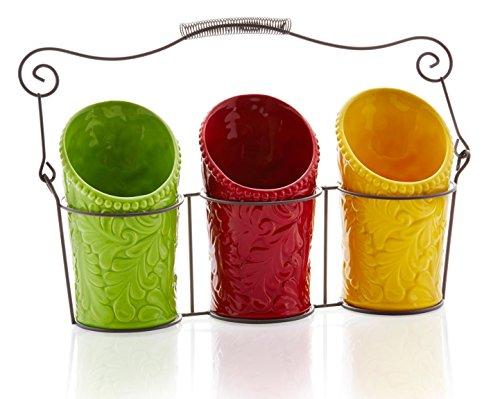 Kitchen Utensil Holder Set 4 Pieces - 3 Ceramic Crocks 1 Portable Wire Caddy - Multi-Color