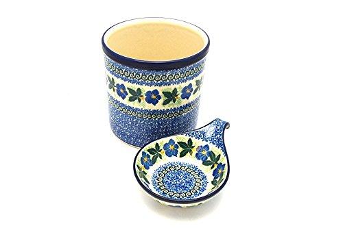 Polish Pottery Utensil Holder Set - Blue Pansy