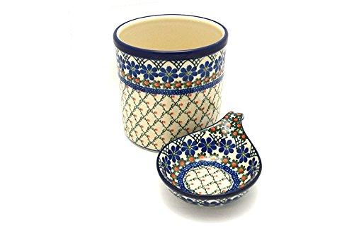 Polish Pottery Utensil Holder Set - Primrose