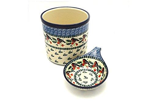 Polish Pottery Utensil Holder Set - Red Robin