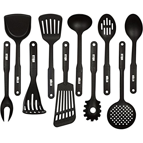 HULLR 10-Piece Nylon Kitchen Utensils Cooking Tool Set - Classic Black