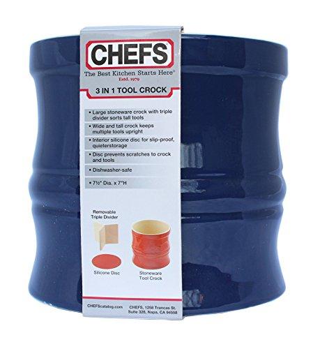 Chefs Kitchen Tools Organizer Set - Navy Blue Stoneware Utensil Crock with Internal Divider and Non-Skid Base