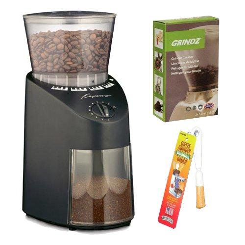 Capresso Jura Infinity 560 Conical Burr Coffee Grinder - Black + Coffee Grinder Dusting Brush + 3-pack 35g Grindz