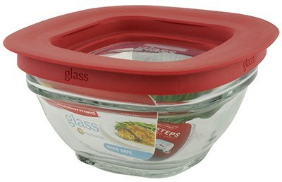 Rubbermaid Food Storage Container Freezer Glass 1 Cup Square Pack of 4