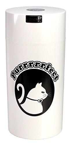 Pawvac 24 Ounce Vacuum Sealed Pet Food Storage Container White Cap BodyBlack Cat