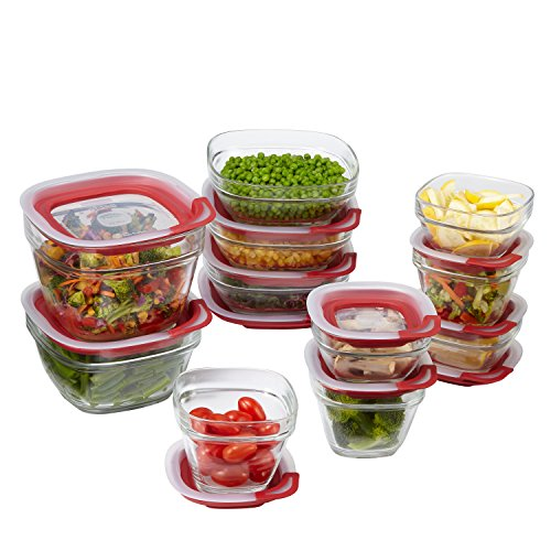 Rubbermaid Easy Find Lids Glass Food Storage Container 22-piece Set Red 1865887