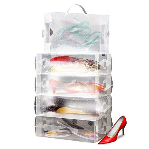 10 x Ladies Clear Plastic Stackable Folding Shoe Storage Boxes by Kurtzy TM