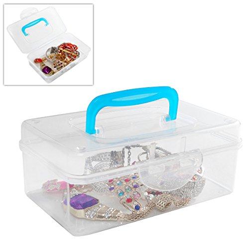 Multi Purpose Mini Clear Plastic Travel Storage Box  Portable Transparent Container Bin - Blue