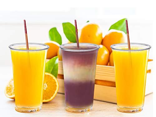 50 Pack - 16 oz PET CUPS No Lids for Smoothie Ice Cream Slush Drinks Yogurt Milkshakes Lemonade Picnic Party or Carnival 50 Count