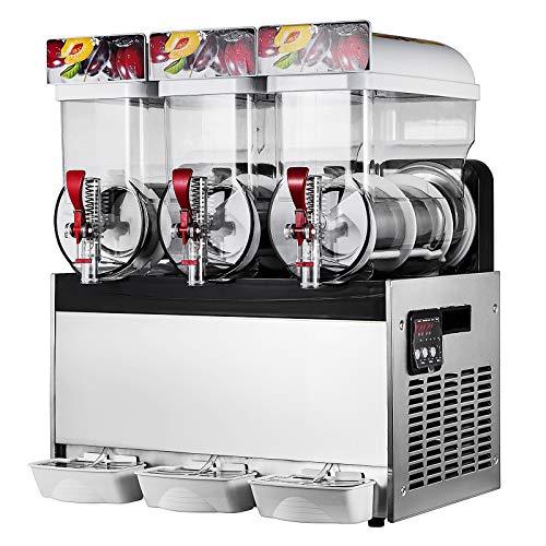 Happybuy Slushy Machine 15L x 3 Tank 110V Margarita Maker Frozen Drink Machine Commercial Smoothie Maker Slushy Making Machine Suitable for Commercial Use