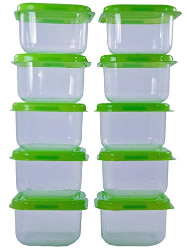 TukTek Mini 20 Piece Clear Plastic Food Storage Container Set COLORS VARY with Snap Lids for Lunch Boxes