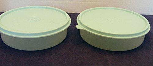 Set of 2 1405 Tupperware Big Wonder Cereal Storage Bowls Sheer with Aqua Lid