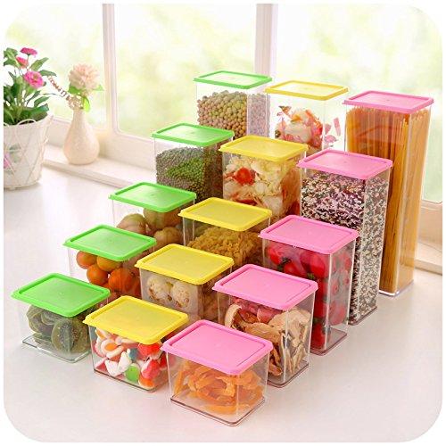 Superimposed Cereals Storage Box Covered Kitchen Food Storage Crisper Jar Plastic Sealed Cans 8-Pink