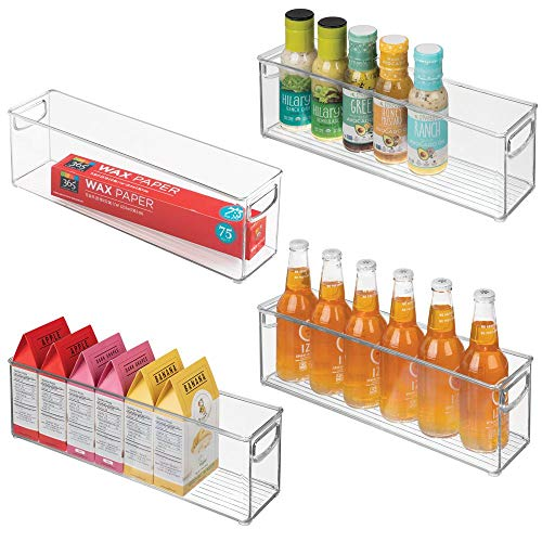 mDesign Plastic Stackable Kitchen Pantry Cabinet Refrigerator or Freezer Food Storage Bins with Handles - Organizer for Fruit Yogurt Snacks Pasta - BPA Free 16 Long 4 Pack - Clear