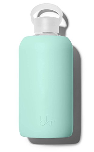 Bkr® Bottle: Bubbly Glass Water Bottle + Soft Silicone Sleeve 1l