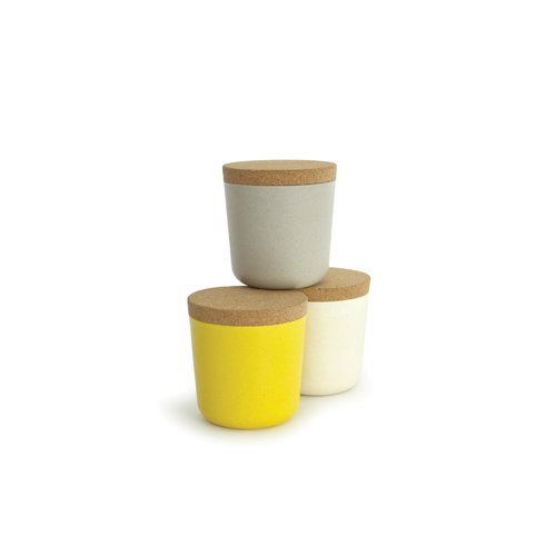 Biobu by Ekobo 15 oz Gusto Storage Jar Set in Gift Box Large StoneWhiteLemon