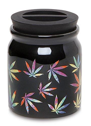 Ceramic Storage Jar for Herbs Wax Rainbow Leaf