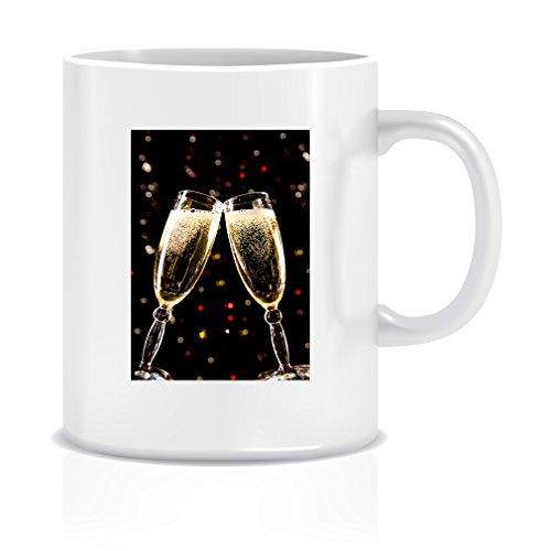 Two Champagne Glasses Making Toast Coffee Tea White Ceramic Mug Cup 11oz