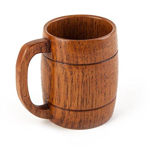 Geeklife® Camphorwood Handcraft Beer Mug, Wooden Steins With Handle, Brown (500ml)
