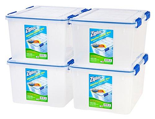 IRIS 44 Quart Ziploc WeatherShield Storage Box 4 Pack Clear