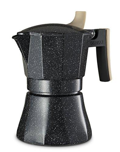 Osaka Stovetop Espresso Maker - Aluminum with Marbled Coating Stove-Top Moka Pot Nijo Castle 3 Cup