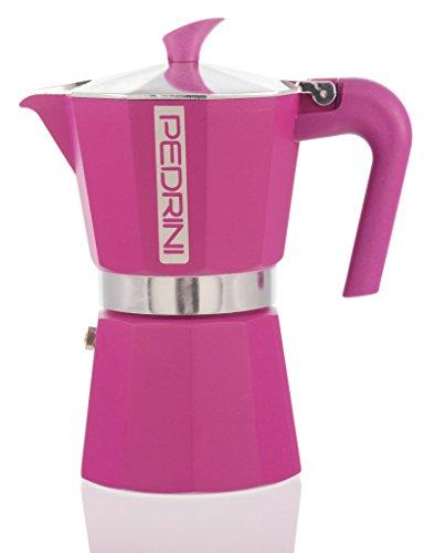 Pedrini Italy Colours Collection Stovetop Moka Espresso Pot with Italian EN601 Aluminium and Saftey Valve Pink 3 cup