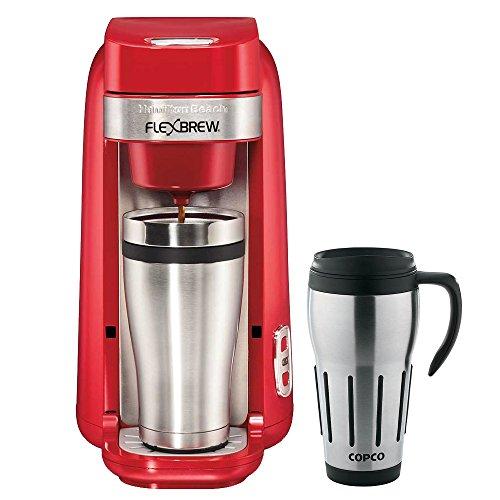 Hamilton Beach Single-Serve Coffee Maker FlexBrew Red 49960 with Copco 24-Ounce Big Joe Thermal Travel Mug