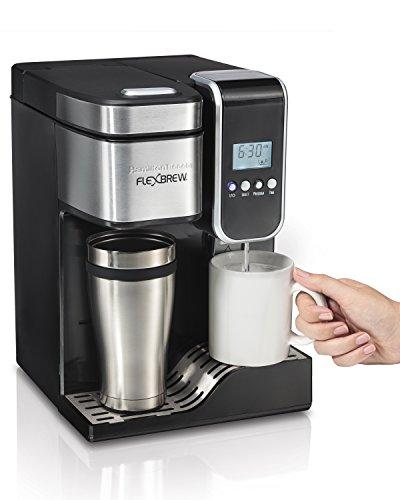 Hamilton Beach Single-Serve Coffee Maker Programmable FlexBrew with Hot Water Dispenser 49988