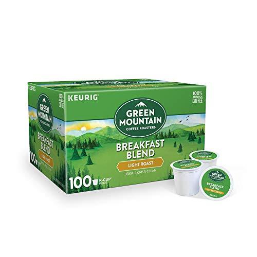 Green Mountain Coffee Roasters Breakfast Blend Flavor Light Roast Coffee Keurig Single-Serve K-Cup Pods 1 Box of 100 Count