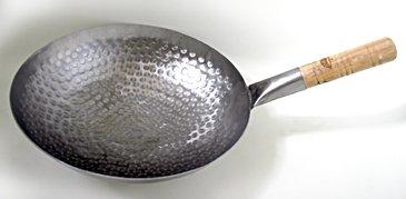 Handhammered Carbon Steel Pow Wok w Wood Handle 12-inch