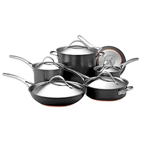 Anolon 82835 Nouvelle Copper Hard Anodized Nonstick Cookware Pots and Pans Set 11 Piece Dark Gray