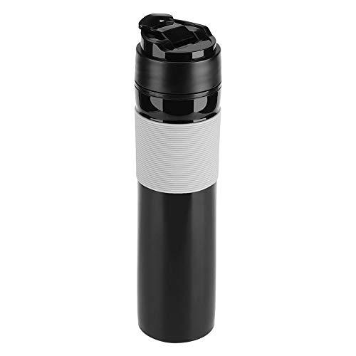 French Press Travel 350ml12oz Portable Coffee Press Mug Tea and Coffee Maker Bottle Coffee Brewer Travel Tumbler Water CupBlack