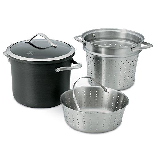 Calphalon Contemporary Hard-Anodized Aluminum Nonstick Cookware Pasta Pot with Steamer Insert 8-quart Black