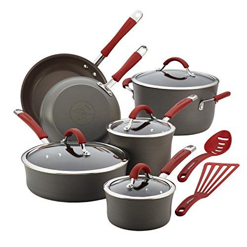 Rachael Ray Cucina Hard-Anodized Aluminum Nonstick Cookware Set 12-Piece Gray Cranberry Red Handles