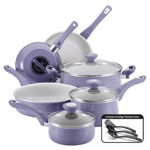 Farberware New Traditions Speckled Aluminum Nonstick 12-Piece Cookware Set Lavender