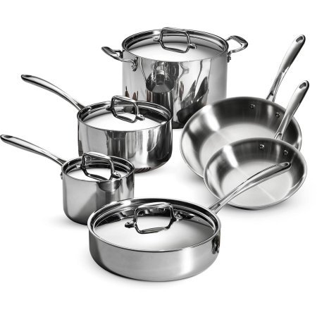 Tramontina 80116566DS Stainless Steel Tri-Ply Clad Cookware Set 10-Piece Made in China