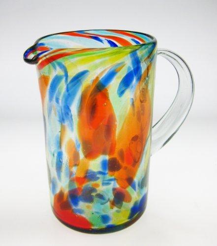 Mexican Glass Margarita or Juice Pitcher Confetti Swirl Design Straight
