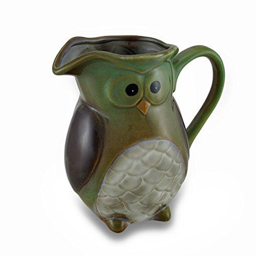 Harvest Owl Ceramic Pitcher Decorative Vase