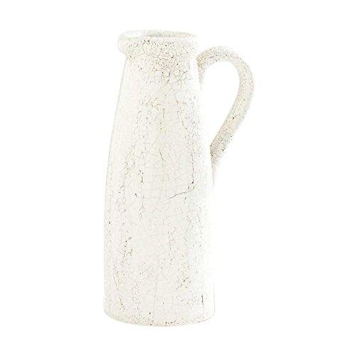 K&K Interiors 12346A Crackled Ceramic Pitcher 1125 White