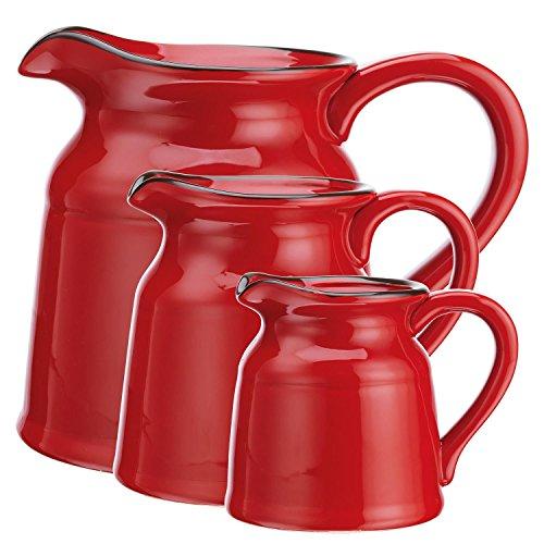 La Cucina 3 Piece Ceramic Pitcher Set Red